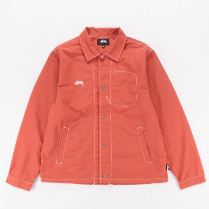 Stussy Folsom Coach Jacket Burnt Red1